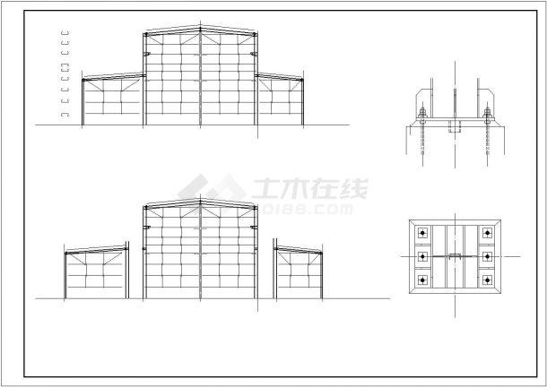 某带地下门式钢架结构设计施工CAD图纸-图一
