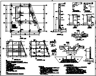 某单层框架结构水泵房结构施工cad图_水泵房施工-图一