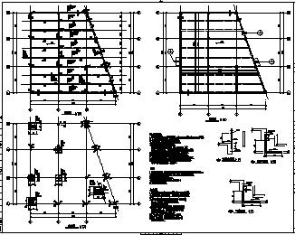 某单层框架结构水泵房结构施工cad图_水泵房施工-图二
