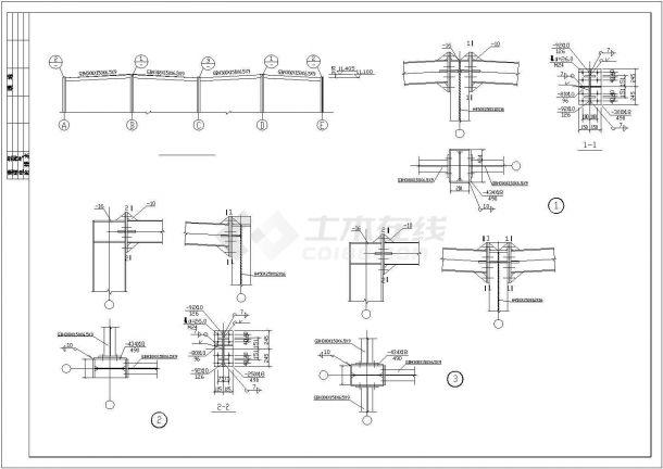 蚌埠市某现代化商业街三层钢框架结构商业楼结构设计CAD图纸-图二