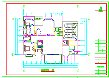 某地区三层别墅建筑设计cad施工图纸带效果图-图二