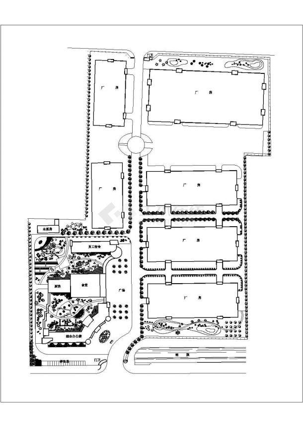 某啤酒厂总平面图CAD景观设计厂区绿化-图一