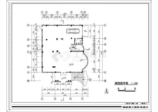 天津市某小区940平米3层砖混结构单体别墅建筑设计CAD图纸(含阁楼)-图一