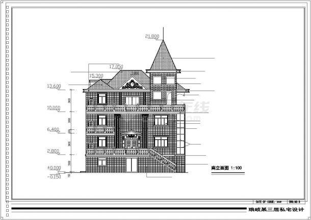 天津市某小区940平米3层砖混结构单体别墅建筑设计CAD图纸(含阁楼)-图二