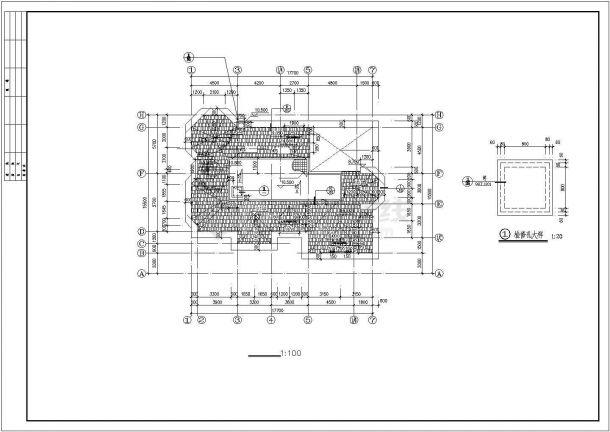武汉市某小区2层砖混结构单体别墅建筑设计CAD图纸(含夹层和天面层)-图一