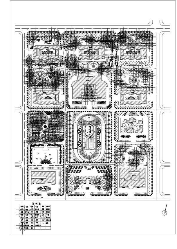 某厂区总体绿化规划CAD景观设计平面图-图一