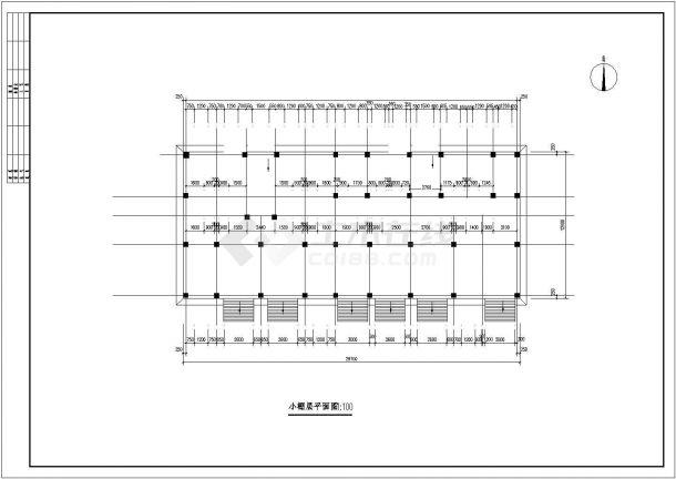 河口市某小区2540平5层框架结构住宅楼建筑结构设计CAD图纸(含阁楼)-图二