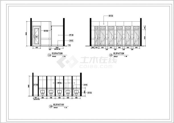 公共卫生间室内建筑设计施工图-图一