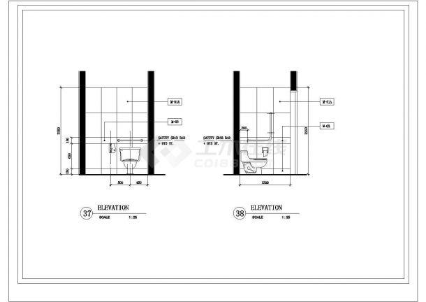公共卫生间室内建筑设计施工图-图二