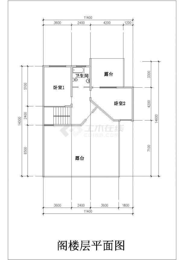 常熟某地别墅施工全套设计cad图纸(含屋顶平面图)-图一