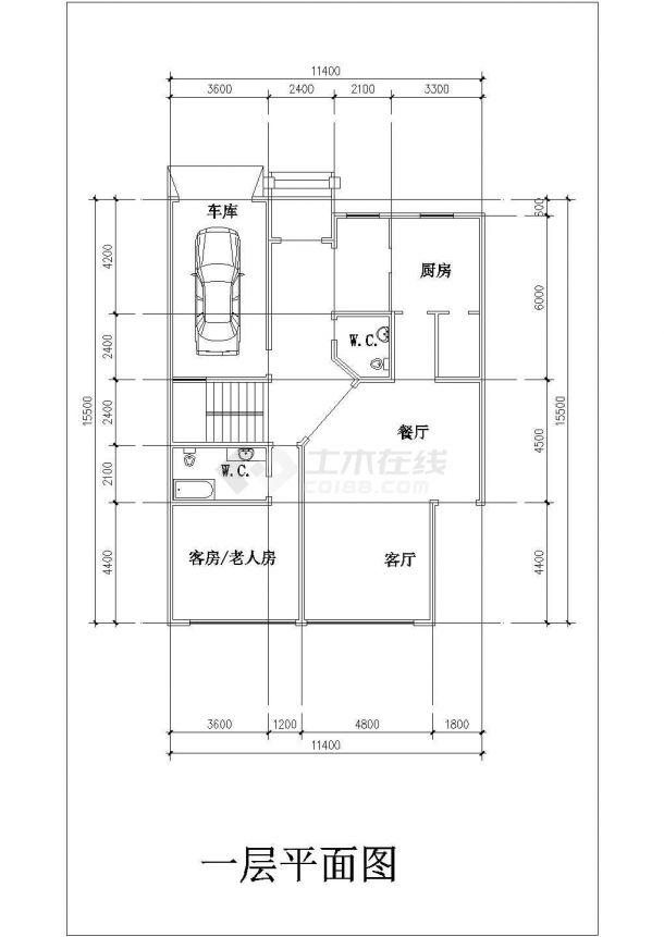 常熟某地别墅施工全套设计cad图纸(含屋顶平面图)-图二