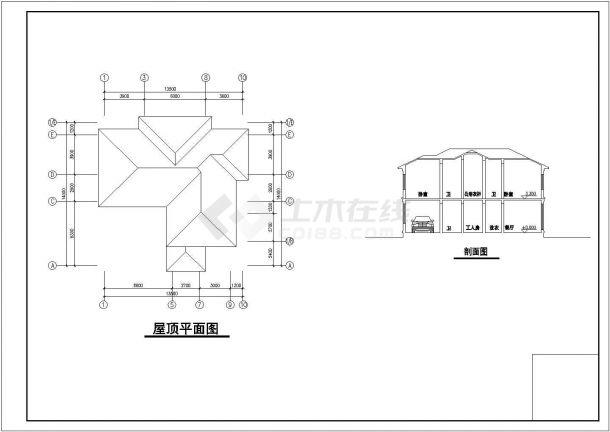 【延安】某地精品别墅全套设计施工cad图纸(含各层平面图)-图一