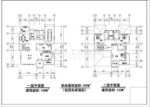 【延安】某地精品别墅全套设计施工cad图纸(含各层平面图)-图二