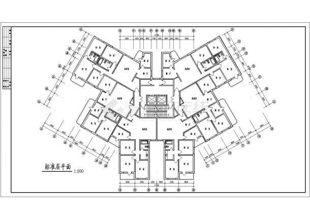 高层塔式户型设计施工图-图一