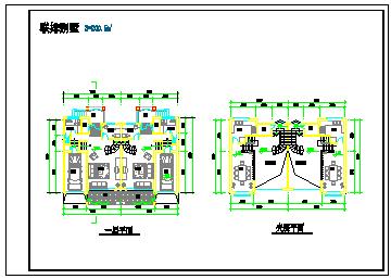两套联排别墅建筑设计施工cad图纸-图二