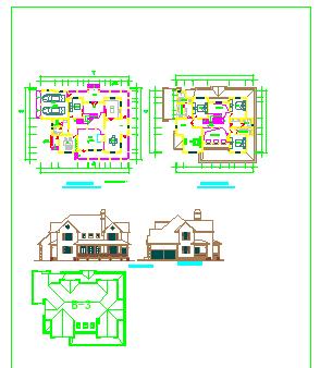 三套别墅方案cad设计图纸-图一