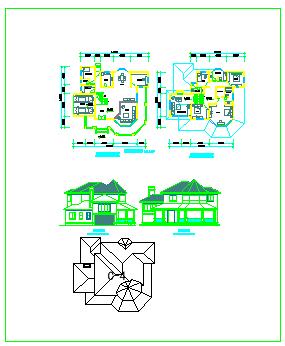 三套别墅方案cad设计图纸-图二