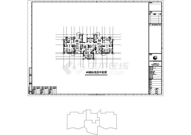 崇州天玺花园小区住宅楼标准平面设计图CAD图纸(1梯3户/108+63+105)-图一