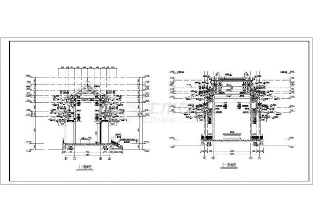 万佛亭全套建筑设计方案图纸-图二