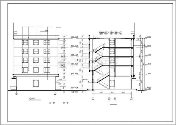 无锡市惠山区某市政单位5层框架结构办公楼全套建筑设计CAD图纸-图一