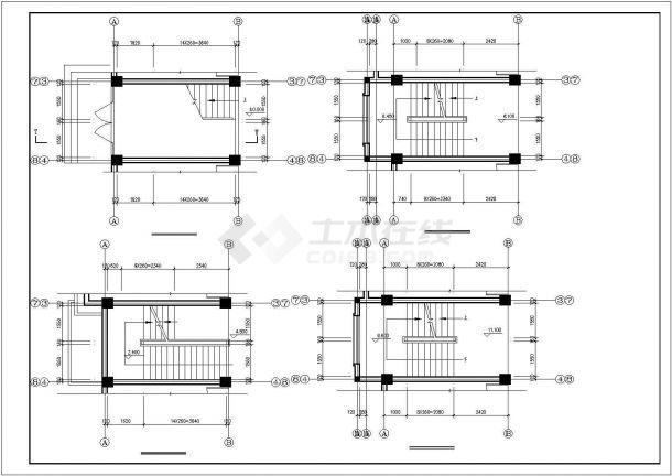 无锡市惠山区某市政单位5层框架结构办公楼全套建筑设计CAD图纸-图二