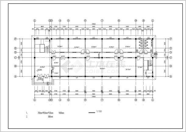 重庆市万州区某市政单位4层框混结构办公楼全套平面设计CAD图纸-图二