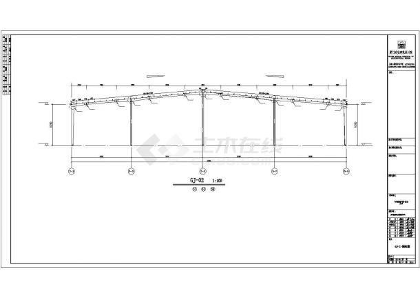 某产业园商用钢框架仓库设计施工CAD图纸-图一