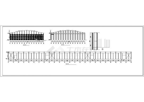 某产业园双跨单层轻型门式钢架粮库结构建筑设计施工CAD图纸-图一