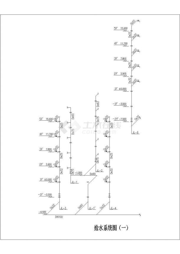 某地学校整套建筑给水排水工程专业设计图-图二
