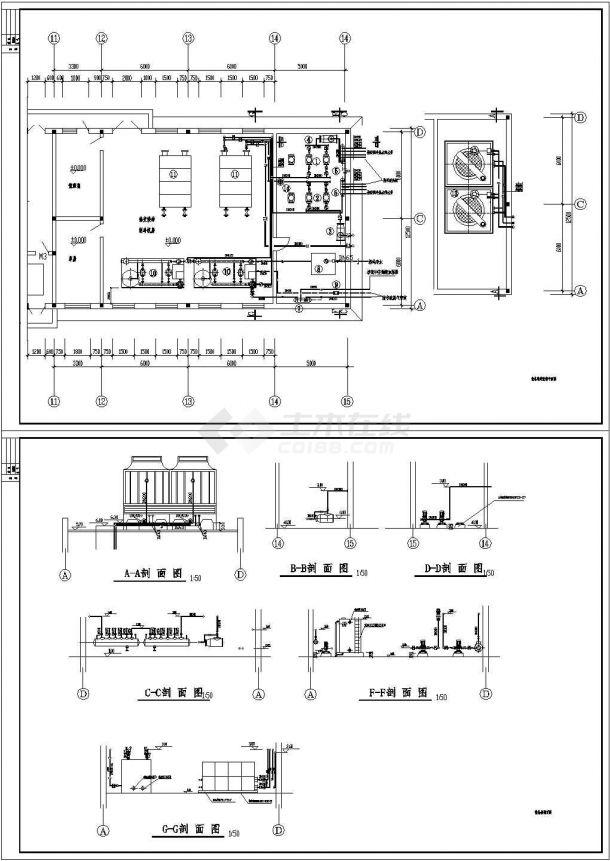 某空调制冷机房设计cad图-图二