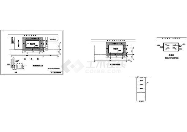 专项一次池施工方案铁皮坑地墙平面布置共四张cad图纸-图一