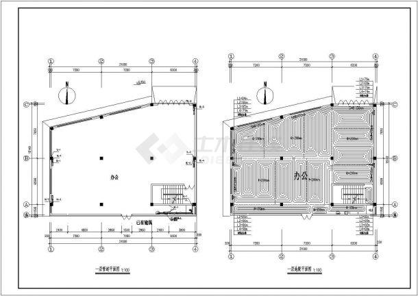 某六层小办公楼地暖采暖暖通给排水设计施工图纸-图二