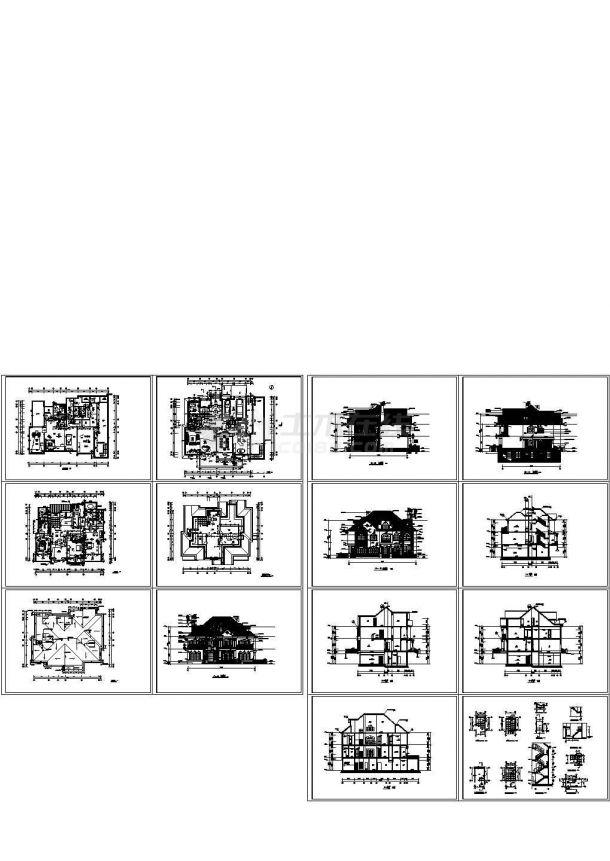 某四层(含地下室)别墅建筑设计施工图-图一