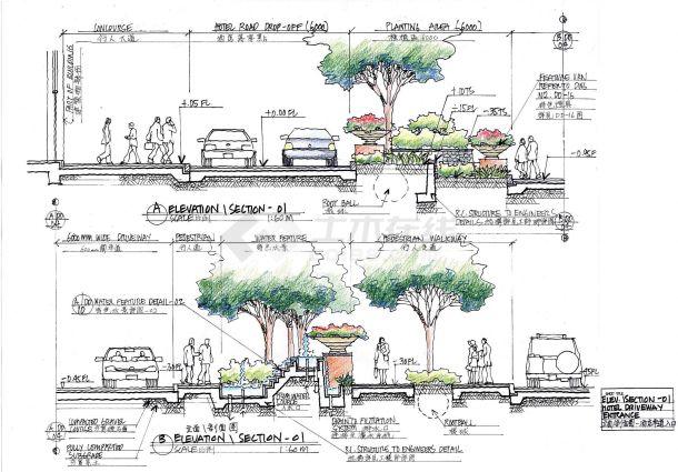 百瑞广场园林景观施工CAD设计图-图一