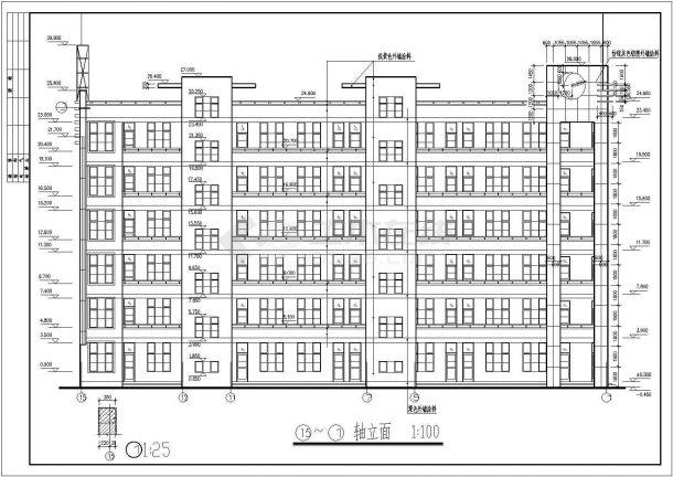 南宁某地区中学教学楼框架结构设计图纸-图一