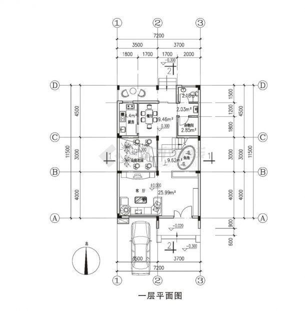 199.95平方米框架结构建筑设计cad图,含效果图-图一