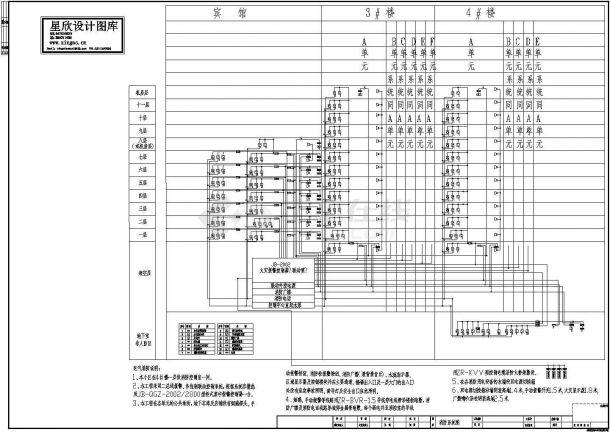 某住宅小区电气消防设计cad消防系统图(含设计说明)-图一