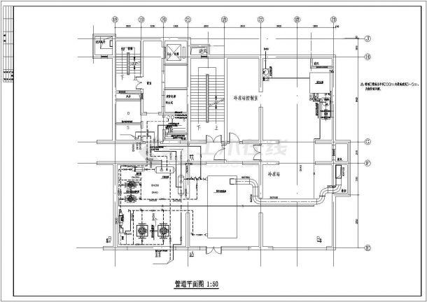 直燃双效溴化锂吸收式制冷机组冷冻设计图纸-图一