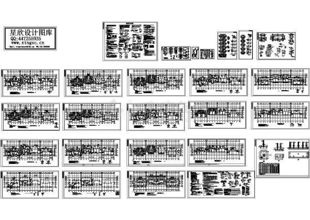 最新整理的六层框架结构住宅楼CAD施工图(含二层梁平面配筋图)-图一
