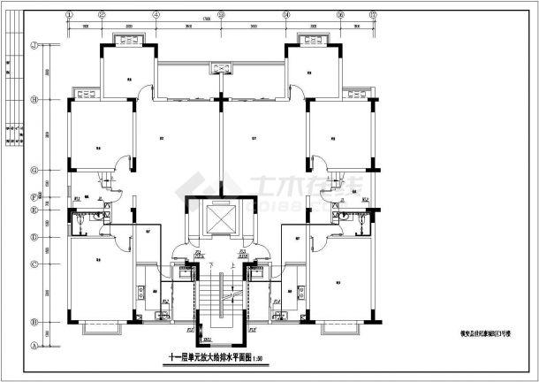 某地11层小高层住宅给排水平面系统图-图二