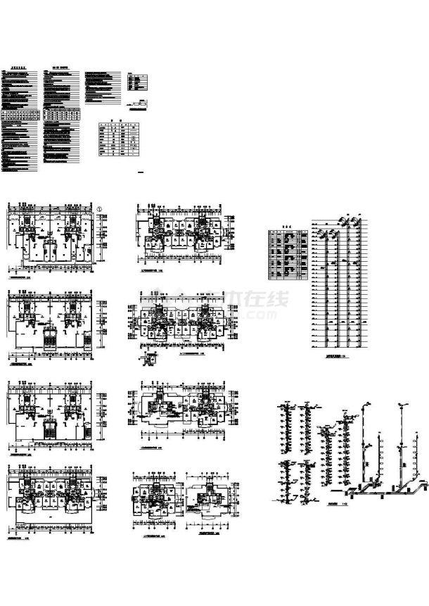 高层住宅楼采暖通风防烟cad平面施工图(含设计说明,设备表)-图一
