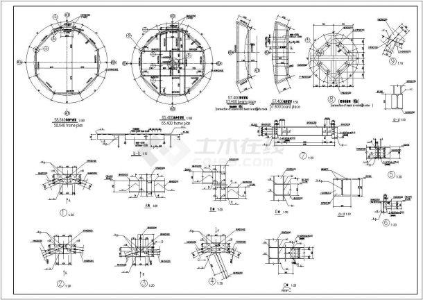 [中英]某预应力筒仓结构水泥厂熟料库结构图-图一