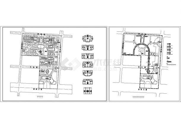 小区规划总平1张 含6种一梯二户建筑平面框架图、公用设施及管线综合图-图一