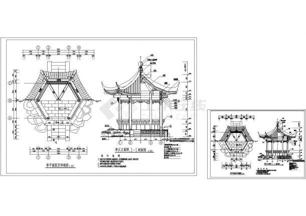 苏州园林仿古建筑亭设计图纸-图一
