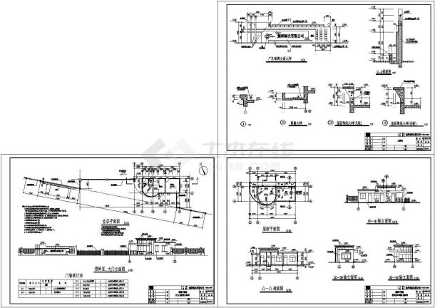 某现代风格的纺织厂房大门建筑设计CAD施工图(标注详细)-图一