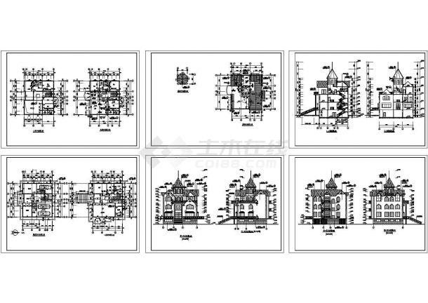 欧式私人别墅装修设计建施cad图,共六张-图一