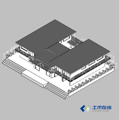 200坪国外现代风格建筑3D模型-图一