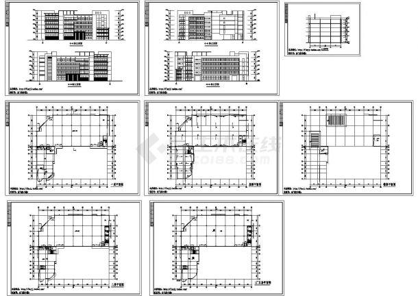 5层L型厂房车间建筑施工CAD设计图纸【平立剖】-图一