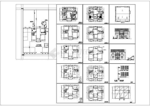 全套农村二层住宅小别墅建筑设计cad图纸,共16张-图一