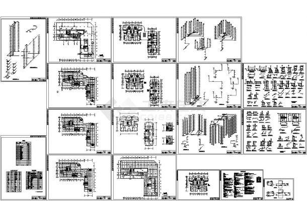 16层似L型商住楼全套给排水设计图(长64.19米 宽62.9米)-图一